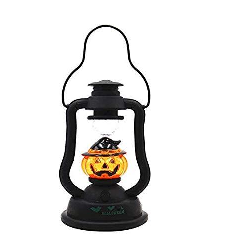 Gwill Luz de noche de Halloween LED portátil calabaza colgante linterna creativa sonido noche lámpara dormitorio lámpara de mesa decorativa