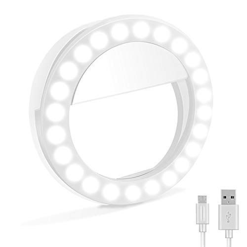 Selfie Ring Light, XINBAOHONG Rechargeable Clip-on Selfie Fill Light with 48 LED for iPhone/Android Smart Phone Photography, Camera Video, Girl Makes up(White)