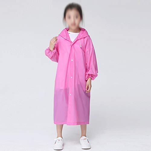 MMAXZ Moda EVA niños Rosa Impermeable Espesado Impermeable Capa de Lluvia niños Claro Recorrido Transparente Impermeable Traje de Lluvia