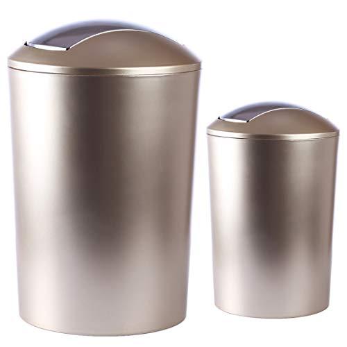 Yavso 2 Set Mülleimer mit Schwingdeckel, 10 L + 6.5 L, Schwingdeckeleimer Kunststoff Papierkorb mit Deckel Mülleimer Büro/Badezimmer/Küche