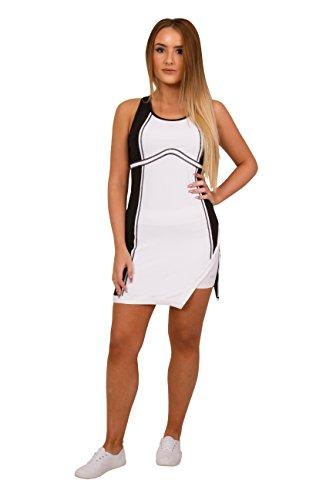 Girls Black & White Designer Tennis Dress, White Tennis Dress, Junior Tennis Dress, Girls Golf Dress, Kids Golf Clothing, Glrls Sportswear, Girls Netball Dress (13-14 Years Old)