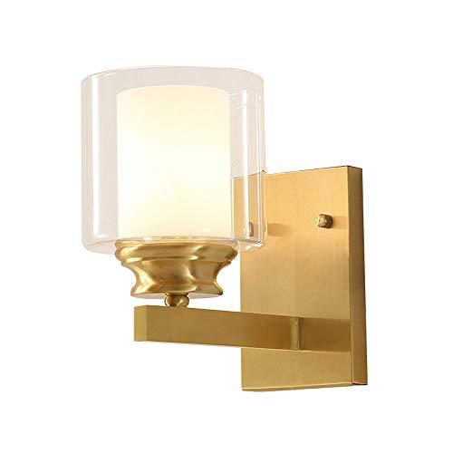BOBLI Diseño De Moda Moderno Simple Soporte Dorado Luz Dormitorio Lámpara De Noche Pasillo De Vidrio Americano Fondo De TV Lámpara De Pared Lámpara De Escalera Lámpara De Pared De Vidrio De Un Solo