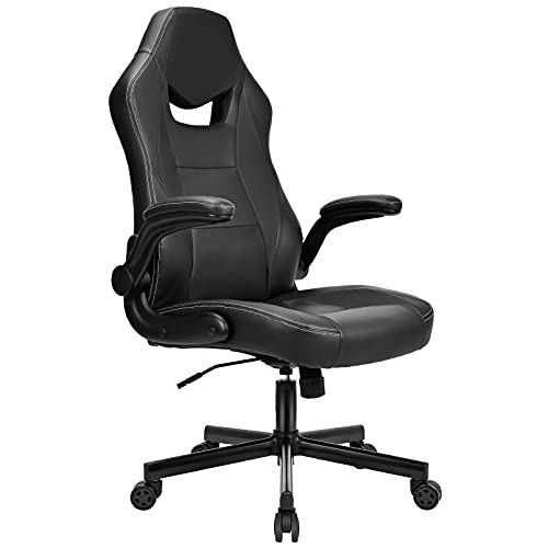 BASETBL Bürostuhl Racing Stuhl Schreibtischstuhl mit ergonomischem Design Flip-Armlehne Wippfunktion Höhenverstellung 150kg belastbar Schwarz