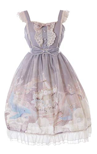 JSK-63-2 Gris Fantasy Ballena Nubes Carrusel Vestido Pastel Goth Lolita Cosplay Disfraz Kawaii