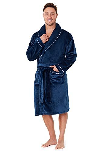 CityComfort Robe de Chambre Homme - Peignoir Homme en Polaire - Cadeau Homme (Navy, L)