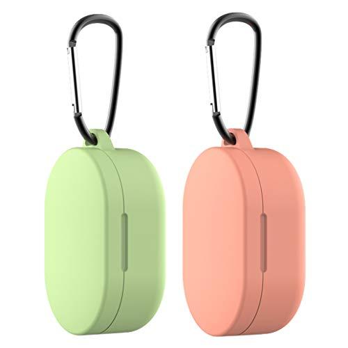 Yoowei [2-Pack Funda Compatible con Xiaomi Mi Airdots True Wireless Stereo Protective Sleeve, Protectora de Silicona Líquida con Gancho de Alpinismo(Naranja Coral & Verde Mostaza)