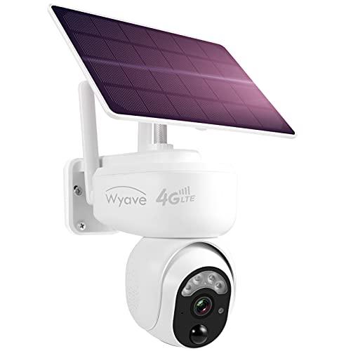 Telecamera di Sicurezza esterna 4G LTE Pan Tilt Cellulare, Scheda SIM e TF inclusa, alimentazione a Batteria Solare, Visione Notturna Spotlight, Rilevamento Movimento PIR, Wyave-EU Versione