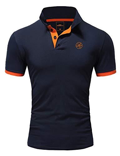 Amaci&Sons Herren Poloshirt Basic Kontrast Stickerei Kurzarm Polohemd T-Shirt 5103 Navyblau/Orange L