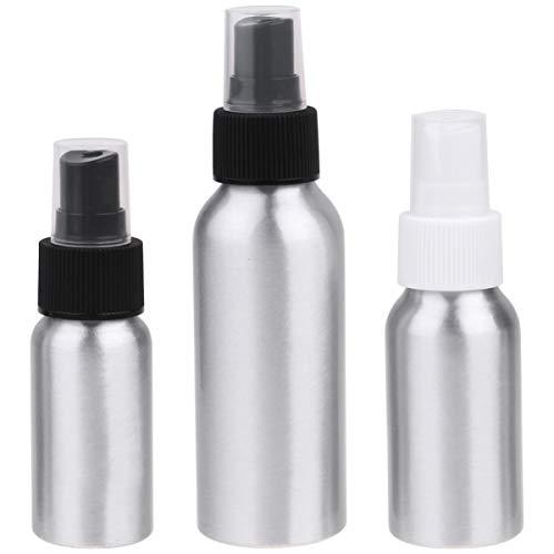 Exceart 30ML 50ML 100ML Sprühflasche Aluminium Tragbar Reiseflaschen Nachfüllbar Leer Sprayflasche Handsprüher Wassersprüher für Make up Flüssigkeit Schwarz 3 Stück