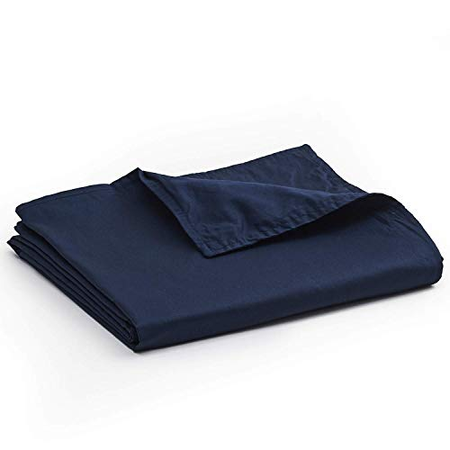 YnM Cotton Duvet Cover for Weighted Blankets (Navy, 48''x72'')