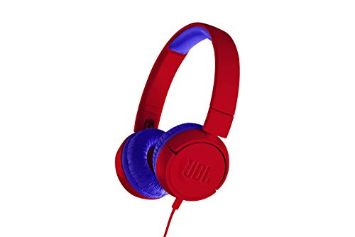 JBL JR300 Cuffie per Bambini con Limitazione del Volume – Cuffie On Ear Aperte Pieghevoli, Sicure e Portatili – Design Leggero e Compatto progettato per i Bambini – Colore Rosso