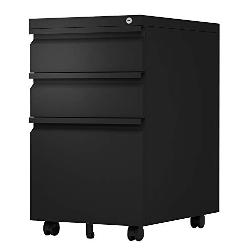 3 Drawer Mobile File Cabinet with Lock, Fully Assembled Except Casters, Letter/Legal Size,Black