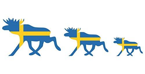 Samunshi® Elchkarawane Aufkleber Set Elch Karawane Elchhirsche Schweden Flagge Nationalfarben in 8 Größen (20x5,5cm)