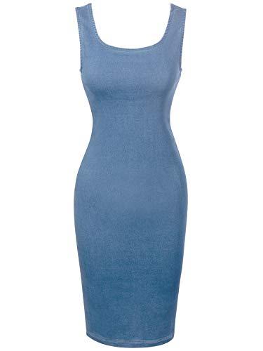 Design by Olivia Women's Sleeveless Basic Stretchable Denim Midi Dress Light Denim S