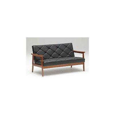カリモク WS1183BW 長椅子2Pソファブラック 合成皮革張ラブチェア