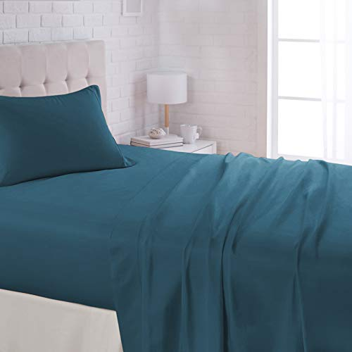 "AmazonBasics Lightweight Super Soft Easy Care Microfiber Bed Sheet Set with 16"" Deep Pockets - Twin, Dark Teal"