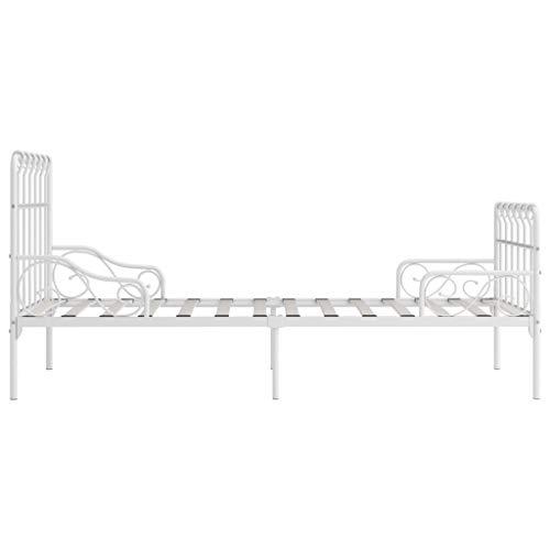 Goliraya Estructura de Cama con Base de Listones Metal Blanco 90x200 cm