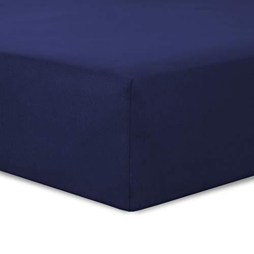 Hoeslaken, marineblauw - 90 x 190 cm - 100% katoen
