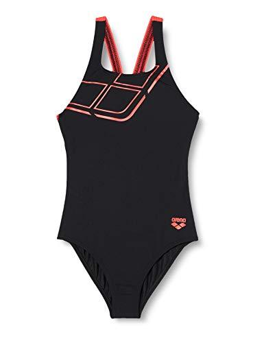 ARENA Damen Sport Badeanzug Essentials, Black -Fluo red, 44