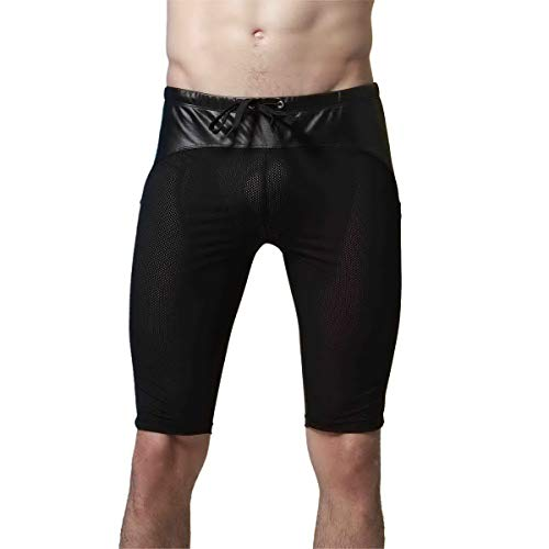 Mongous Men's Athletic Bodybuilding Middle Pants Training Swimming Short Cycling Shorts Black