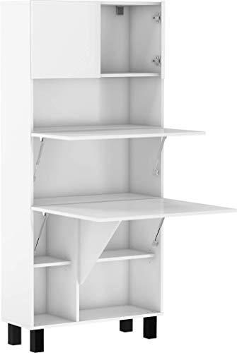 BIM Furniture Estantería de escritorio plegable HOMI, para el hogar, oficina, escritorio, mesa de ordenador, mesa plegable (blanco mate)