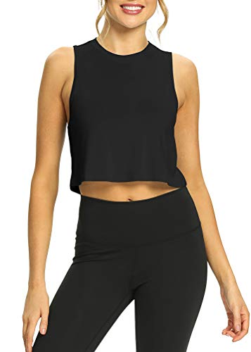 Mippo Womens Crop Tops Crop Muscle Tank for Women Loose Cropped Tank Cute Crop Tops for Women Yoga Shirt Sleeveless Tops for Women Womens Athletic Tank Tops Black M