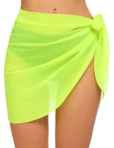 Ekouaer Womens Beach Sarong Short Cover Up Pareo Swimwear Sheer Chiffon Swimsuit Wrap Green Large