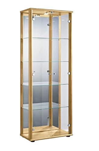 K-Möbel Markenlos Glasvitrine in Buche (176x67x33 cm) mit 4 höhenverstellbaren Glasböden aus ESG, LED, Schloss und Spiegel; beleuchet; perfekt für Sammler;