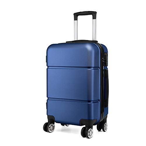 Kono Suitcase 20'' Travel Carry On Hand Cabin Luggage Hard Shell Travel Bag Lightweight, Navy Blue