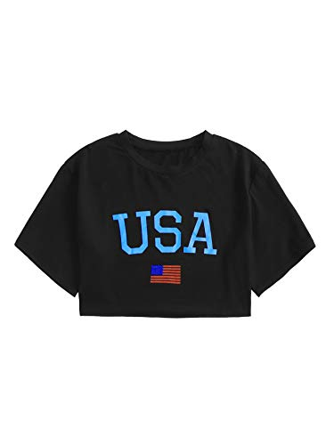 Camiseta feminina casual de verão com estampa de letras e manga curta SweatyRocks, Black-z3, Small