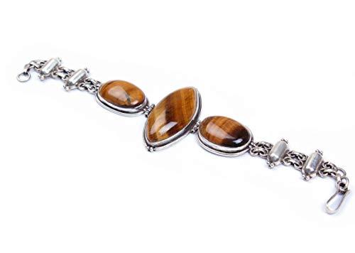 Pulsera de plata de ley 925 | Pulsera de cadena y eslabón | Piedra preciosa de ojo de tigre ovalada | Pulsera de cierre de gancho | Tamaño 7.5-8.4 pulgadas