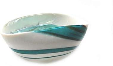 "Murano Glass Amazzone Bowl Ivory Teal Green Modern Handmade Blown Glass 7"" Length"