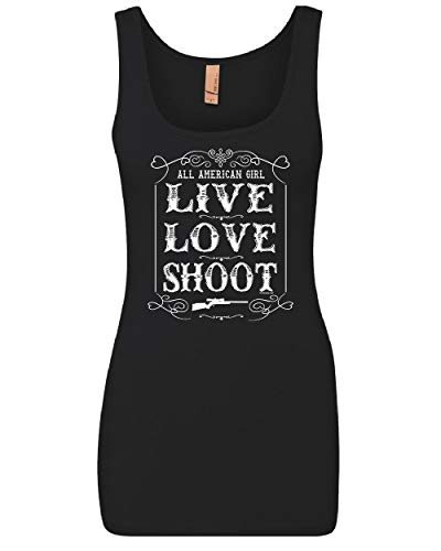 All American Girl Women's Tank Top Beautiful Badass 2nd Amendment Top Black S