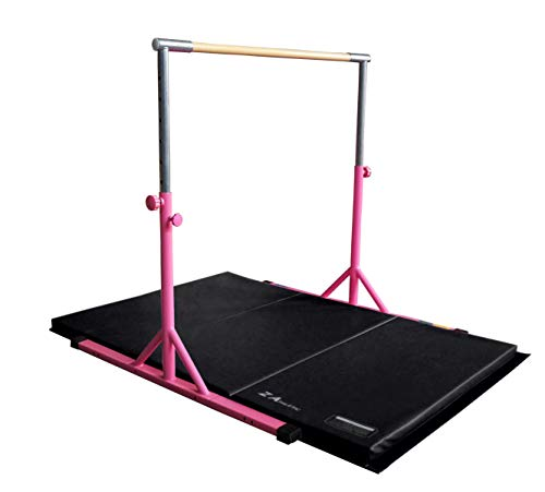 Z ATHLETIC Expandable, Adjustable Height Kip Bar & 4ft x 6ft x 2in Mat for Gymnastics, Training (Pink & Black)