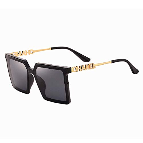 DKE&HXL Gafas de sol para mujer, montura grande, de plástico, con marco retro, con patillas doradas, protección Uv400, adecuado para viajes, conducción y deportes