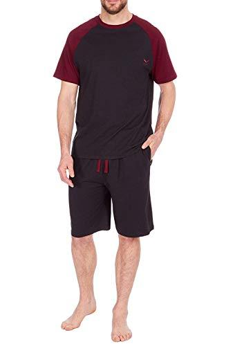 Mens Pyjama Set Short Sleeve Top Shorts BlackBurgandy Medium