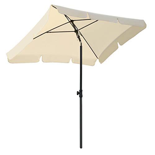 MVPower Parasol, Sombrilla Plegable, Sombrilla UV UPF 50+, Sombrilla Impermeable Protección Solar para Jardín, Balcón y Terraza (Beige 1)