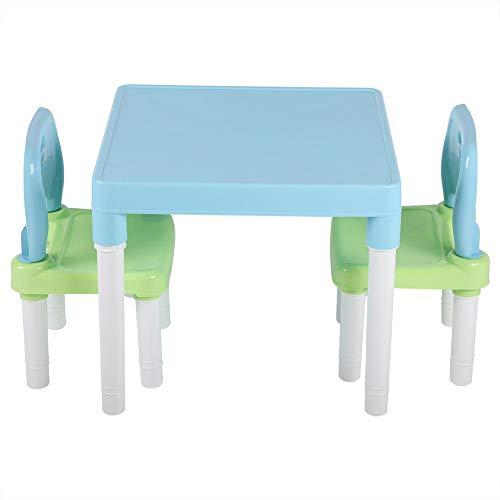 lyrlody Kindertisch mit 2 Stühle, Kunststoff Kindersitzgruppe Sitzgruppe für Kinder Studium Schreibtisch Kindermöbel Set für zu Hause Kindergarten, Einfach zusammenzubauen(Grünblau)