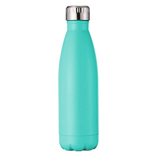 KAZUKO Water Bottle Insulated Stainless Steel Cool Vacuum Direct Drink Sports Water Bottle 17oz Cola Shape Travel Thermal Flask Cup,Green