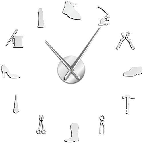 CDDRSXYQ Reloj de Pared Zapatería Zapatero Herramienta Profesión DIY Reloj de Pared Vintage Zapatero Herramienta Martillo de Zapatos Autoadhesivo Acrílico Espejo Adhesivo Reloj