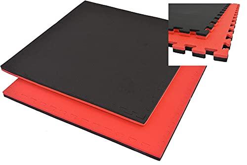 Grupo Contact Suelo Tatami Puzzle (Rojo/Negro), Medida 1 x 1 m. Grosor 2 y 2,5 cm. (Grosor 2,5 c m.)