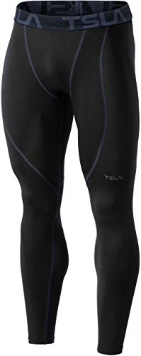 TSLA Thermale Kompressionsunterwäsche Wintergear Sport-Leggings mit Fleece-Futter für Herren, Yup53 1pack - Black & Charcoal, M
