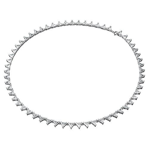 Swarovski Collar Millenia, Triángulo, blanco, baño de rodio