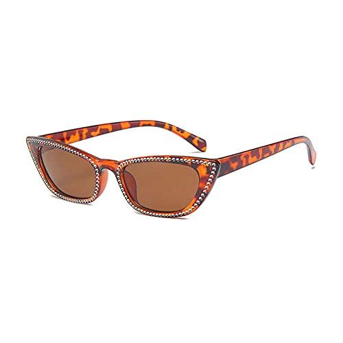 Gafas de sol de ojo de gato con cristales de imitación para decoración de espejo reflectante lente de los hombres gafas UV400