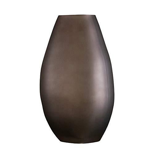 PUCHIKA Vase Mattglas Blumenvase, Modern Vase für Zuhause und Hochzeit, Grüne Tischvase für Pflanzen, Tischdeko, Höhe 25cm, Ø13.8cm.