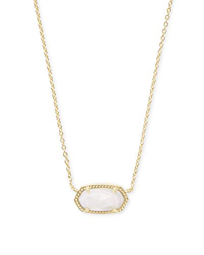 Kendra Scott Elisa Short Pendant Necklace for Women, Dainty Fashion Jewelry, 14k Gold-Plated, White Mother of Pearl