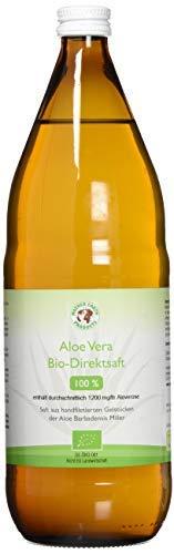 Jus d'Aloe Vera Bio 100% Premium | Filetés à la main | Riche en ingrédients naturels | Moyenne 1200mg / l Aloverose | 1 x 1000ml