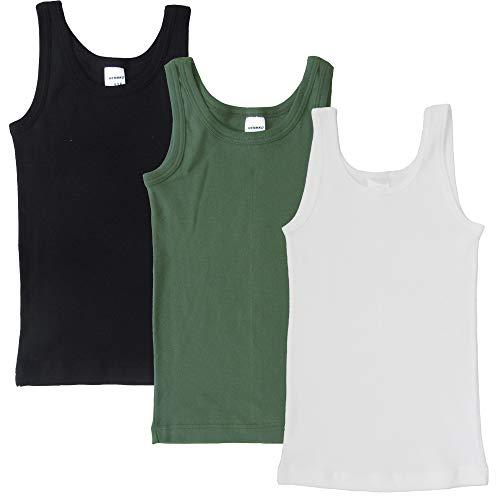 HERMKO 2800 3er Pack Jungen Achselhemden aus 100% Bio-Baumwolle, Größe:92, Farbe:Mix w/s/o