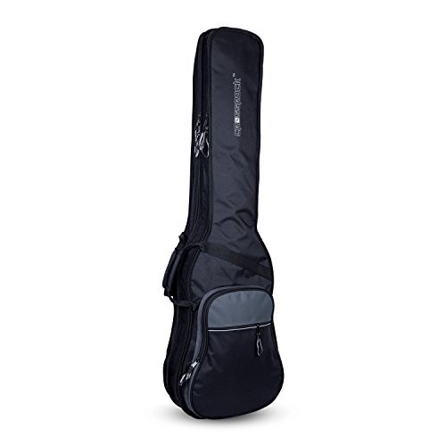 Crossrock CRSG106DBBG Double 2x Bass Guitar Gig Bag -With Padded Adjustable backpack Straps, Black/Grey