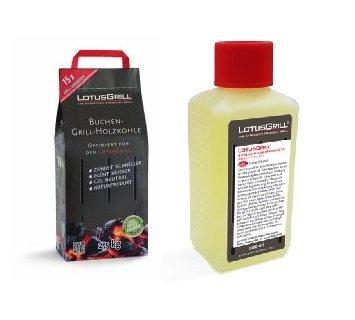 LotusGrill Buchenholzkohle 2,5 kg Sack inkl. LotusGrill Brennpaste 200 ml, beides entwickelt für...